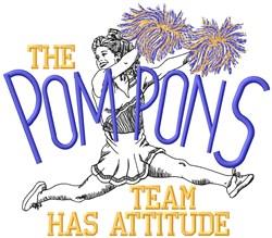 Pom Pons Attitude embroidery design