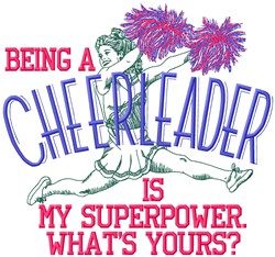 Cheerleader Superpower embroidery design