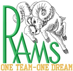 Rams One Team embroidery design