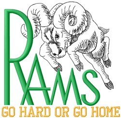 Rams Go Hard embroidery design