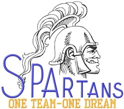 Spartans One Team embroidery design