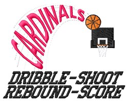 Cardinals Dribble embroidery design
