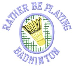 Playing Badminton embroidery design