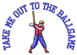 Out To Ballgame embroidery design