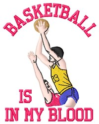 Basketball In Blood embroidery design