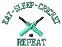 Eat Sleep Cricket embroidery design
