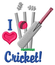 I Love Cricket embroidery design
