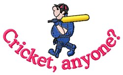Cricket Anyone embroidery design