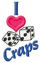 I Love Craps embroidery design