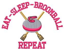 Eat Sleep Broomball embroidery design