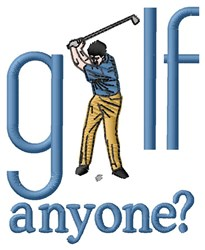 Golf Anyone embroidery design