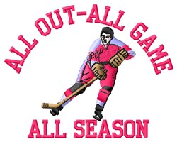 All Out Hockey embroidery design