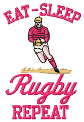 Eat Sleep Rugby embroidery design