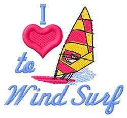 Love Wind Surfing embroidery design