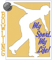 Bowling My Sport embroidery design
