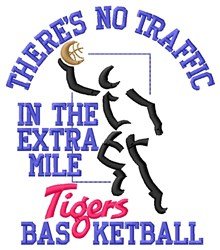 No Traffic Tigers Basketball embroidery design