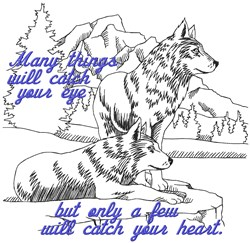 Catch Heart Wolves embroidery design