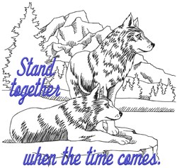 Stand Together Wolves embroidery design