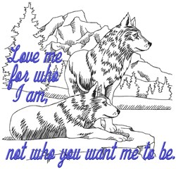 Love Me Wolves embroidery design