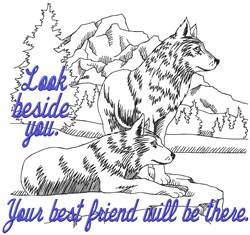 Beside You Wolves embroidery design