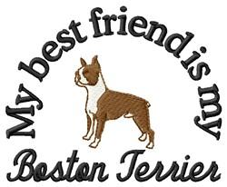 Boston Terrier Friend embroidery design
