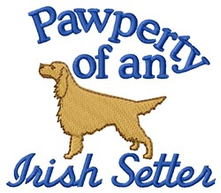 Irish Setter Pawperty embroidery design