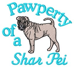 Shar Pei Pawperty embroidery design