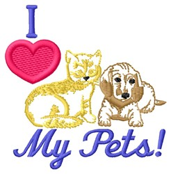 Love My Pets embroidery design