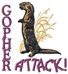 Gopher Attack embroidery design