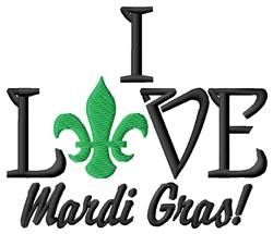 Love Mardi Gras embroidery design