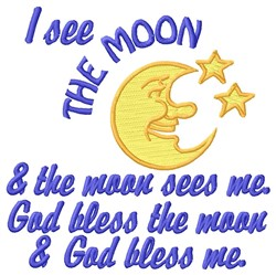I See Moon embroidery design