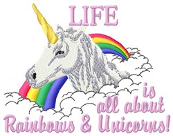 Life Is Rainbows embroidery design