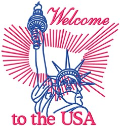 Welcome USA embroidery design