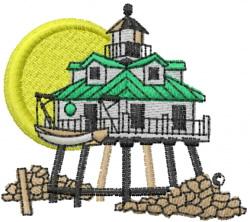Beach House embroidery design