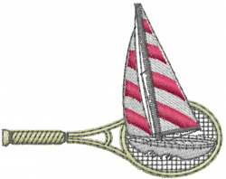 Tennis Racket and Boat embroidery design