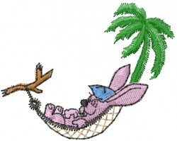Rabbit in Hammock embroidery design