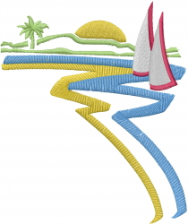 Beach Boat embroidery design