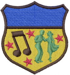 Musical Crest embroidery design
