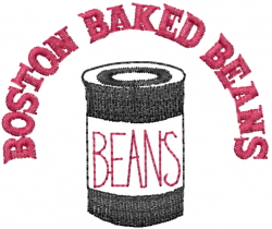 Boston Baked Beans embroidery design