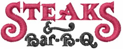 Steaks BBQ embroidery design