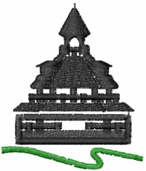 Asian Building embroidery design