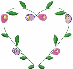 Heart Shaped Vine embroidery design