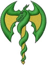 Dragon Staff embroidery design