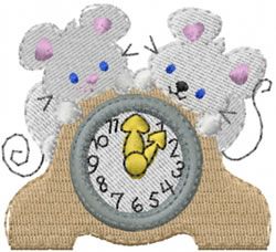 Tic Toc Mice embroidery design