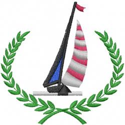 Sail Boat Wreath embroidery design