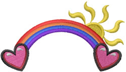 Rainbow Heart Scene embroidery design