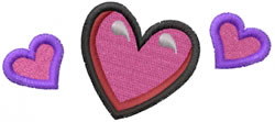 3 Hearts embroidery design