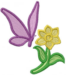 Flower and Butterfly embroidery design