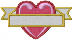 Banner Heart embroidery design