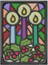 Stained Glass Candles embroidery design